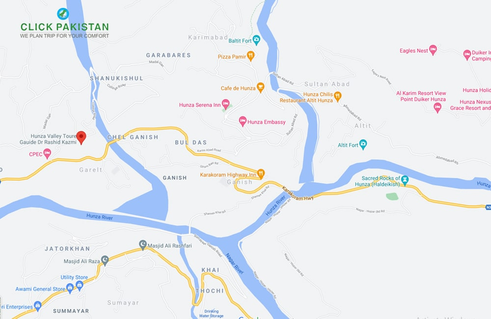 Hunza Valley Map By Click Pakistan - Tourism Services