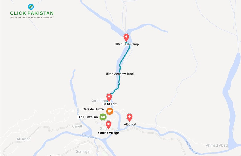Hunza Karimabad Map by Click Pakistan-Tourism Services